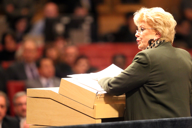 Las Vegas Mayor Carolyn Goodman delivers her State of the City speech at City Hall Thursday, Jan. 8, 2015. (K.M. Cannon/Las Vegas Review-Journal)
