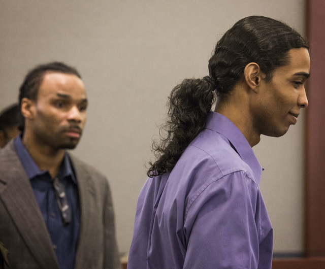 Willie Darnell Mason,left,  and David Burns, accused of murdering a woman and wounding her daughter, during opening statements Tuesday, Jan. 27, 2015 at Regional Justice Center, 200 S. Lewis Avenu ...
