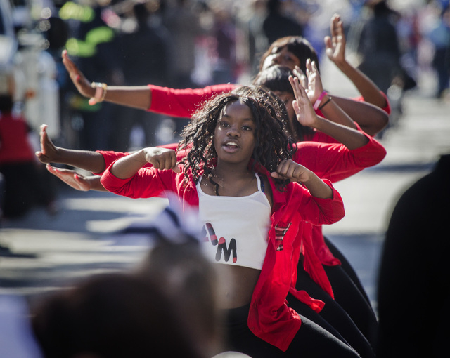 Alexia Williams performs with Dancers Aftermath Monday, January 19 2015, during the 33rd Annual Dr. Martin Luther King Jr. Parade in Downtown Las Vegas. (Jeff Scheid/Las Vegas Review-Journal)
