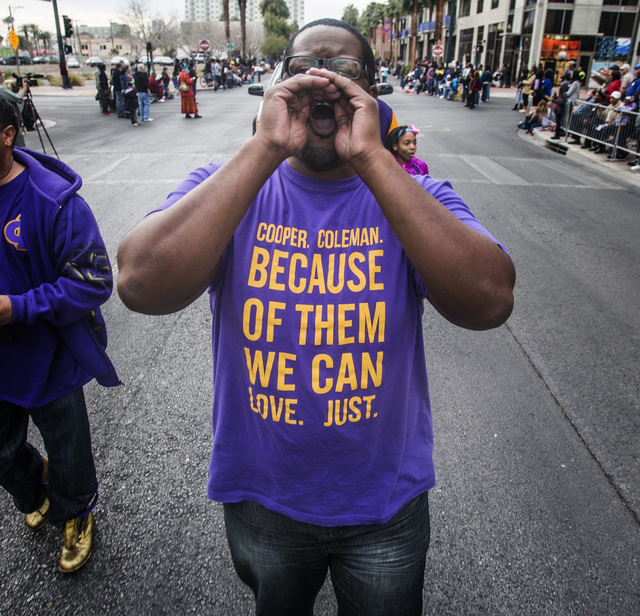 Terrell Lee walked with Omega Si Phi Monday, January 19 2015 during the 33rd Annual Dr. Martin Luther King Jr. Parade in Downtown Las Vegas. (Jeff Scheid/Las Vegas Review-Journal)