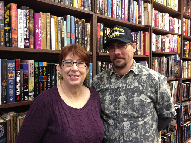 Dragon Castle Books owner Carla Spillman poses for a photo with her son, Danny Brown, at the books store, 3142 N. Rainbow Blvd.  in Las Vegas, Dec. 29, 2014. (Sandy Lopez/View)