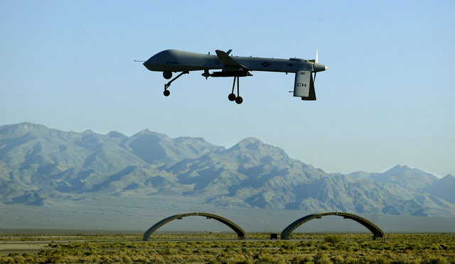 A MQ-1 Predator unmanned aerial vehicle takes off for a training flight from Creech Air Force Base at Indian Springs, 45 miles northwest of Las Vegas on Monday, Aug. 18, 2008. The remotely piloted ...