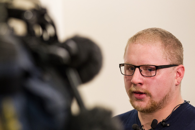 Ryan Young speaks with news media about his mother, Kathy Shines, who was allegedly killed by Jerry Howard on Jan. 3, after a press conference at Metro headquarters  in Las Vegas on Wednesday, Jan ...