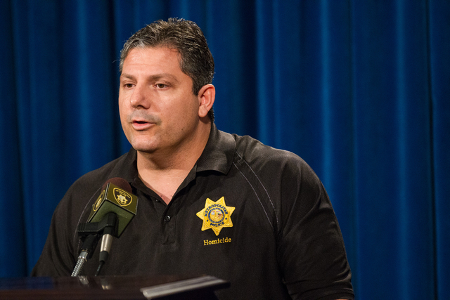 Las Vegas homicide Lt. Ray Steiber speaks about the arrest of Jerry Howard, who allegedly killed Kathy Shines on Jan. 3, during a press conference at Metro headquarters  in Las Vegas on Wednesday, ...