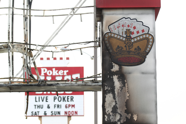 Damage is seen after North Las Vegas firefighters put out a fire that destroyed a marquee at Poker Palace, 2757 Las Vegas Blvd. N, in North Las Vegas on Monday, Jan. 26, 2015. The fire began when  ...