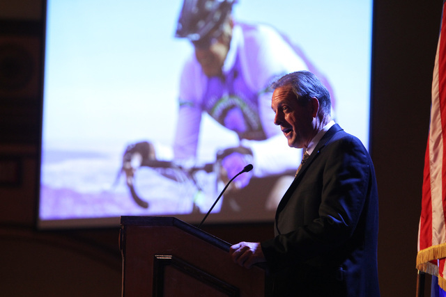 North Las Vegas Mayor John Lee relates a story of his bike ride up Pikes Peak during his State of the City address Tuesday, Jan. 27, 2015 at Texas Station. (Sam Morris/Las Vegas Review-Journal)