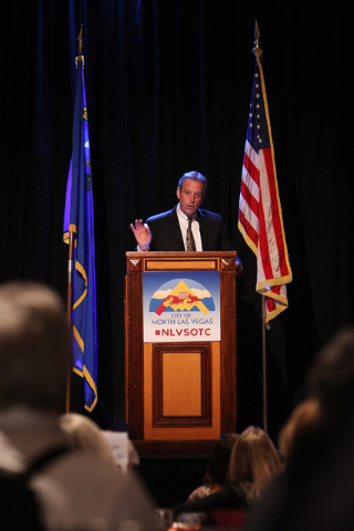North Las Vegas Mayor John Lee delivers his State of the City address Tuesday, Jan. 27, 2015 at Texas Station. (Sam Morris/Las Vegas Review-Journal)