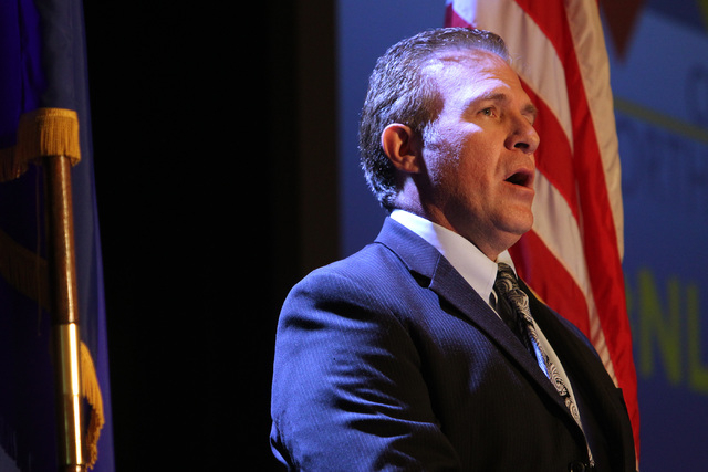 North Las Vegas Mayor Wade Wagner sings the national anthem before North Las Vegas Mayor John Lee delivers his State of the City address Tuesday, Jan. 27, 2015 at Texas Station. (Sam Morris/Las Ve ...