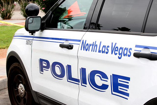 A marked North Las Vegas Police Department motorcycle was traveling south on Interstate 15 when the accident occurred about 8:30 p.m., NHP said Tuesday. (Michael Quine/Las Vegas Review-Journal)