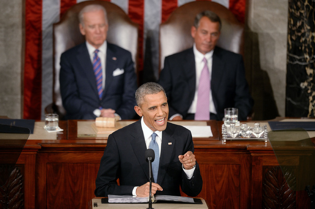 President Barack Obama delivers the State of The Union address on Jan. 20, 2015, in U.S. Capitol. According to an analysis of federal spending by Reuters, budget cuts have sliced most deeply in st ...
