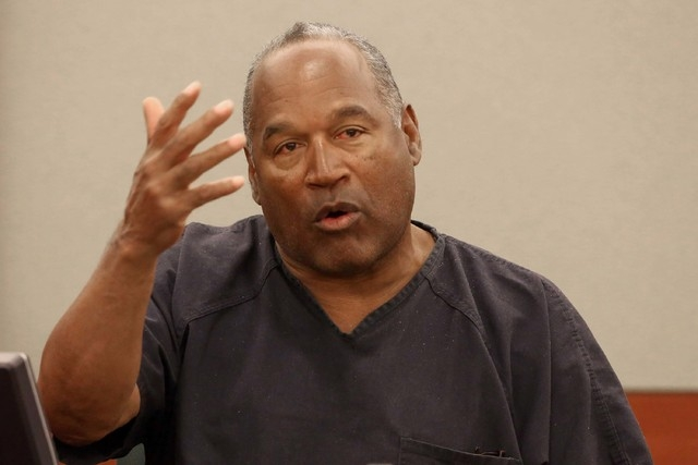 O.J. Simpson testifies during an hearing in Clark County District Court in 2013 in Las Vegas. Simpson is currently serving a nine to 33-year sentence in state prison as a result of his October 200 ...