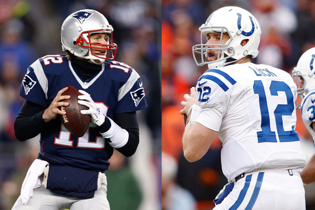 New England Patriots quarterback Tom Brady (12), left, prepares to throw the ball during the first quarter against the Baltimore Ravens during the the 2014 AFC Divisional playoff football game at ...