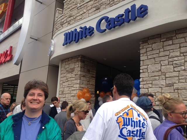 Linda Kitchel of Las Vegas was first in line for White Castle opening on the Strip in Las Vegas on Tuesday, Jan. 27, 2015. (Alan Snel/Las Vegas Review-Journal)