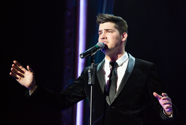 """Brett Pruneau sings """"Mandy"""" during """"Piano Man,"""" a tribute show to Elton John, Billy Joel and Barry Manilow, at the V Theater, located in the Miracle Mile Shops at Planet Hollyw ..."""