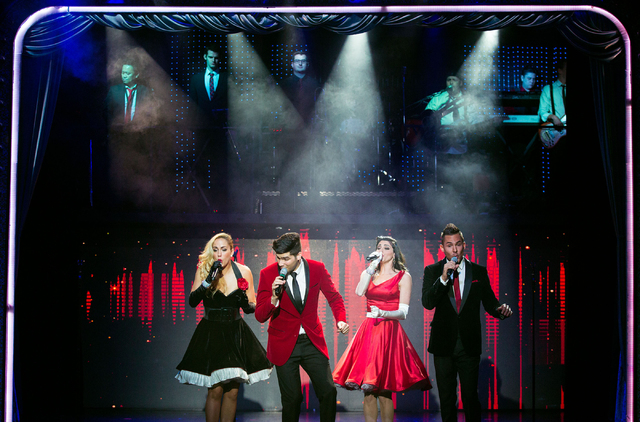 """Savanna Smith, from left, Brett Pruneau, Sophia Monica and Russel Francis perform during """"Piano Man,"""" a tribute show to Elton John, Billy Joel and Barry Manilow, at the V Theater, locate ..."""