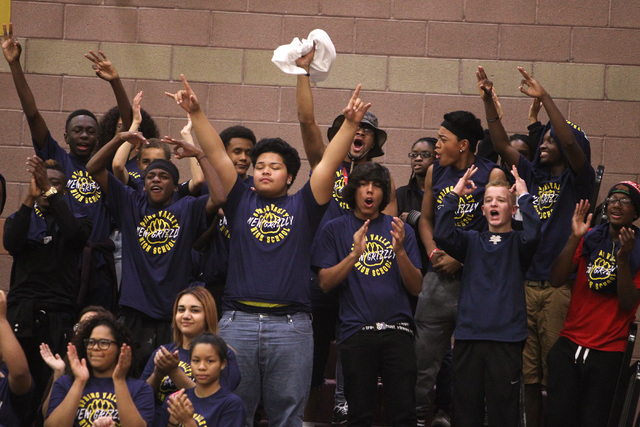 Spring Valley students cheer a successful 3-point shot against Faith Lutheran during their game Tuesday. Spring Valley won, 63-54. (Sam Morris/Las Vegas Review-Journal)