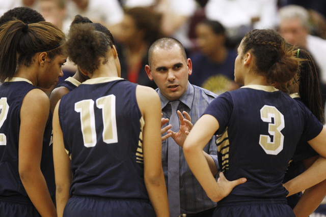 Spring Valley coach Billy Hemberger talks to his team during a timeout in their game against Faith Lutheran on Tuesday. Spring Valley won, 63-54. (Sam Morris/Las Vegas Review-Journal)