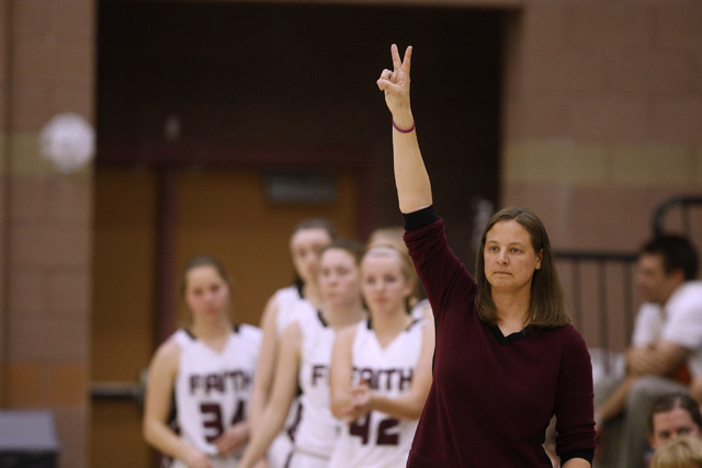 Faith Lutheran head coach Jennifer Karner calls a play during their game against Spring Valley on Tuesday. Spring Valley won, 63-54. (Sam Morris/Las Vegas Review-Journal)