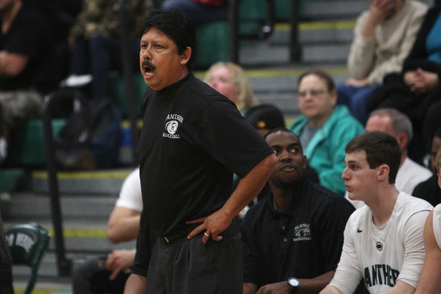 Palo Verde head coach Paul Sanchez yells to his players during their game against Bishop Gorman Thursday. Gorman won the game 88-63. (Sam Morris/Las Vegas Review-Journal)