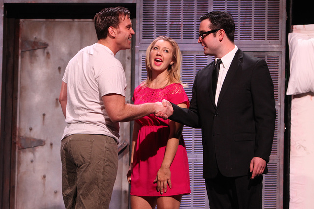 """Darren Ritchie, left, Jessica Halsey and Graham Skipper perform during a dress rehearsal for a production of """"Re-animator The Musical,"""" which opened Tuesday in the Troesh Studio Theater at The Smi ..."""