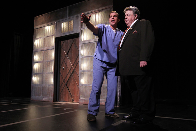 """Darren Ritchie, left, and George Wendt rehearse """"Re-animator The Musical"""" on Tuesday, Jan. 6, 2015, at Troesh Studio Theater at The Smith Center for the Performing Arts. (Sam Morris/Las Vegas  ..."""