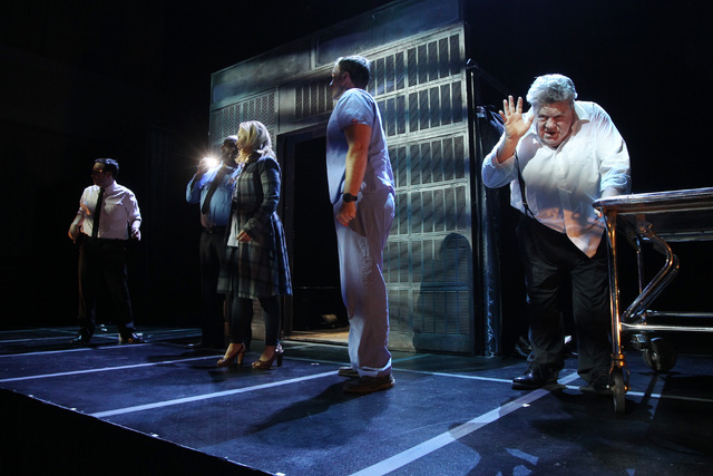 """George Wendt, right, performs during a dress rehearsal for a production of """"Re-animator The Musical,"""" which opened Tuesday, Jan. 6, 2015, in the Troesh Studio Theater at The Smith Center for the P ..."""