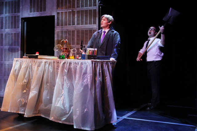 """Jesse Merlin, left, and Graham Skipper perform during a dress rehearsal for a production of """"Re-animator The Musical,"""" which opened Tuesday in the Troesh Studio Theater at The Smith Center for the ..."""