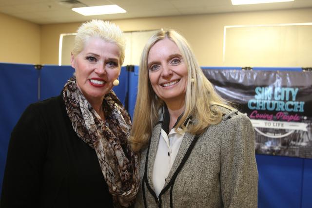 Jayne Post, left, and Rhonda Baker, co-senior pastors for Sin City Church, pose for a portrait at the Henderson church. (Erik Verduzco/Las Vegas Review-Journal)
