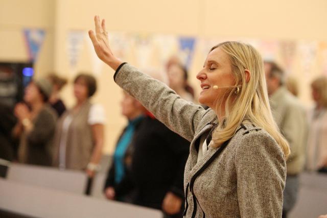 Rhonda Baker, co-senior pastor for Sin City Church, sings along during Sunday services at the church Jan. 4, 2015. (Erik Verduzco/Las Vegas Review-Journal)