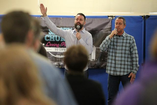 Worship team members John Everson, left, and Mike Castronova, lead a song during Sunday services at Sin City Church, 50 N. Stephanie St., in Henderson, Jan. 4, 2015. (Erik Verduzco/Las Vegas Revie ...