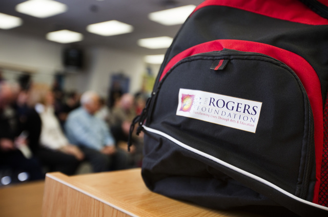 The Rogers Foundation bag seen Wednesday, January 21, 2015 at Reynaldo Martinez Elementary School, 350 East Judson Avenue, North Las Vegas. The non-profit organization announce the launch of grant ...
