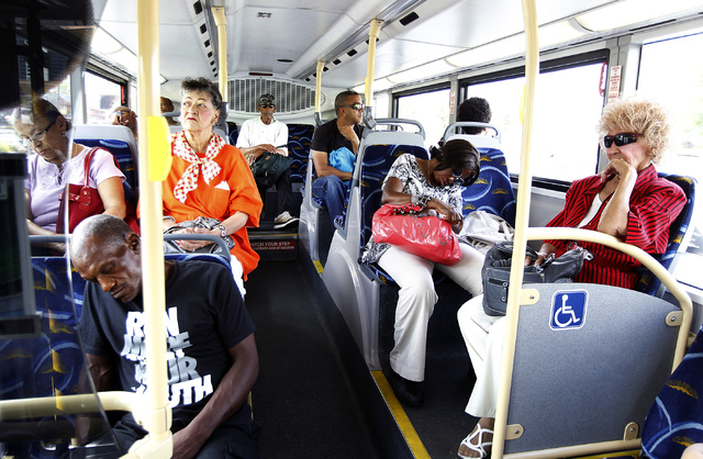 Commuters make their way east on Flamingo Ave. while on an RTC Transit bus in Las Vegas on Wednesday, July 16, 2014. (Jason Bean/Las Vegas Review-Journal)