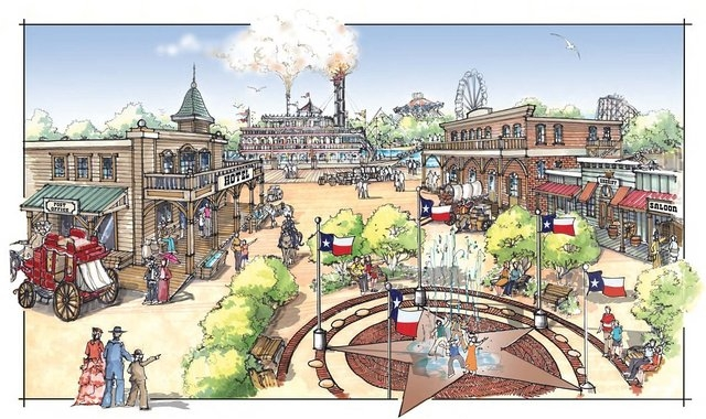 The  640-acre Grand Texas Entertainment District will include seven Texas-themed attractions, a motorsports park, sports complex and water park.