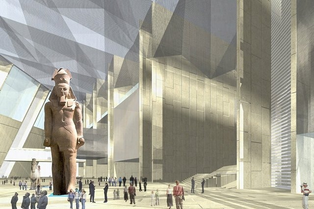 The Grand Egyptian Museum, halfway between the Pyramids of Giza and Cairo, will hold 100,000 ancient artifacts covering more than 7,000 years of history.