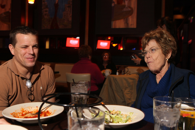 Kevin Nichols, left, and his mother Dorothy, dine at Sauce restaurant, 721 Mall Ring Circle, in Henderson, Nev., Sunday, Dec. 28, 2014. (Erik Verduzco/Las Vegas Review-Journal)