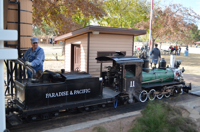 The Paradise and Pacific Railroad, a scaled  steam train reproduction, carries passengers along a 1-mile track at the Scottsdale McCormick-Stillman Railroad Park. (Ginger Meurer/Las Vegas Review-J ...