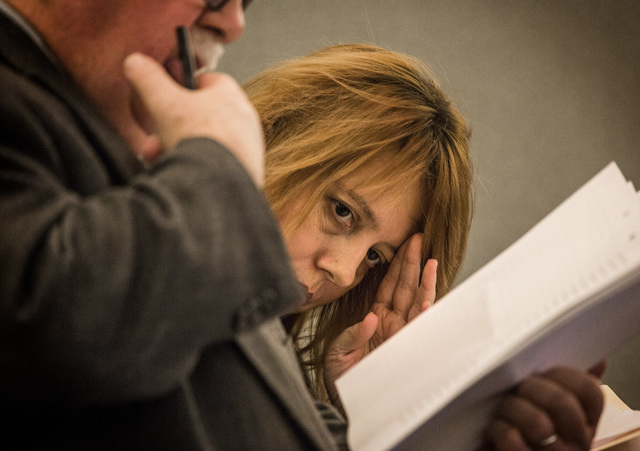 Terrie Sena,right, confers with defense attorney Tom Pitaro while appearing in Las Vegas Justice Court at the Regional Justice Center, 200 Lewis Avenue, on Tuesday, Jan. 27, 2015.  Terrie Sena, he ...