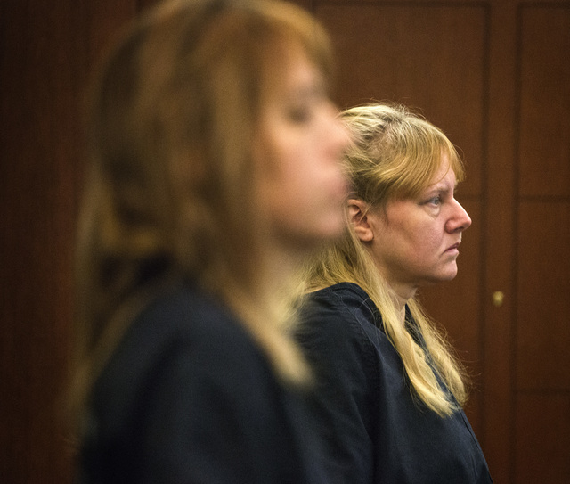 Terrie Sena,left and mother Deborah Sena appear in Las Vegas Justice Court at the Regional Justice Center,200 Lewis Avenue, on Tuesday, Jan. 27, 2015.  Terrie Sena, Deborah Sena and father Christo ...