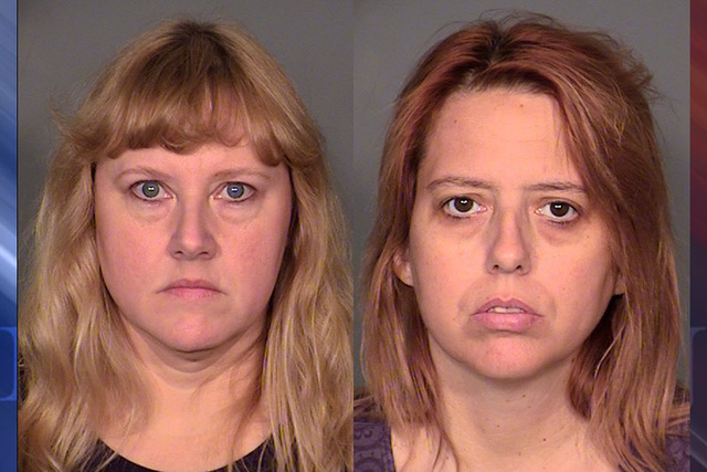 From left to right, Deborah Sena,  50, and Terrie Sena, 43, stood in shackles with their heads down as Justice of the Peace Pro Tem Nancy Oesterle read each of the 27 charges against them. (Courte ...