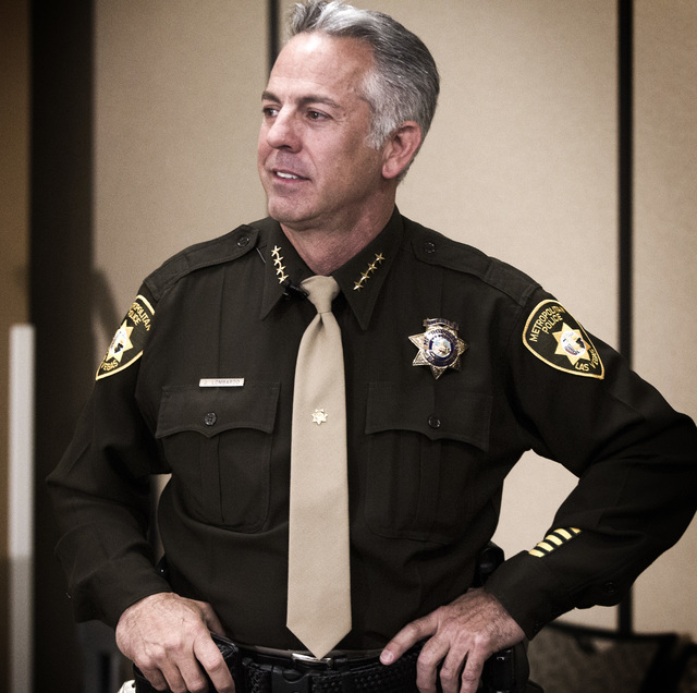 Newly elected sheriff Joe Lombardo during a  swearing  in ceremony at Las Vegas Metropolitan Police Department Headquarters, 400 S. Martin Luther King Boulevard, on Monday, Jan. 5, 2015. He is the ...
