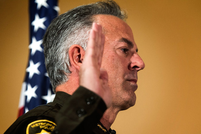 Joe Lombardo is sworn in as Clark County sheriff during a ceremony at Las Vegas Metropolitan Police Department Headquarters, 400 S. Martin Luther King Blvd., on Monday, Jan. 5, 2015. He is the sev ...