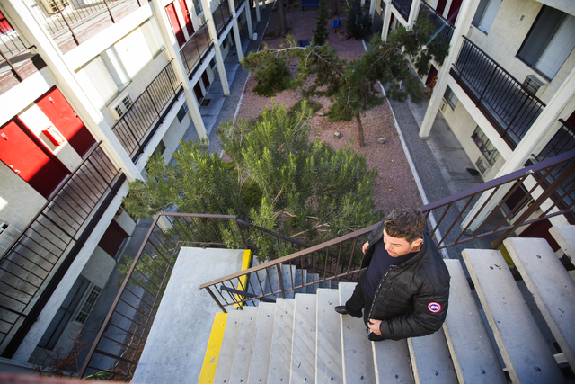 Siegel Group President Stephen Siegel walks down the steps at Sierra Vista Square Apartments, 920 Sierra Vista Drive, near the Las Vegas Convention Center  on Friday, Jan,2, 2015. The company rece ...