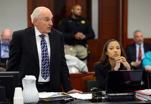 Chief Deputy Clark County District Attorney H. Leon Simon, left, raises an objection as Deputy Clark County District Attorney Leah Beverly looks on during an evidentiary hearing for O.J. Simpson i ...
