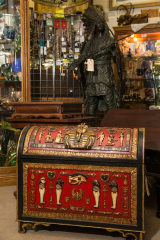 A decorative storage chest with an Egyptian theme is displayed at Not Just Antiques. (Donavon Lockett/View)