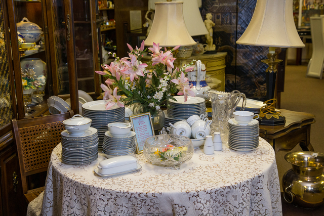 A dish set is displayed at Not Just Antiques. (Donavon Lockett/View)