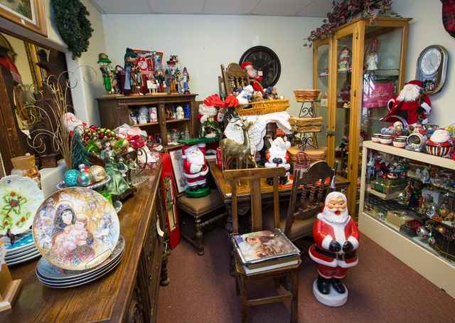 Christmas items and other merchandise are arrayed at Not Just Antiques. (Donavon Lockett/View)