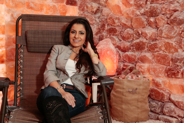 Ava Mucikyan, founder/operator of the Salt Room LV in Trails Village Center, sits inside the wellness center's Cave Room Dec. 31, 2014. The salt therapy business had a soft opening in November at  ...