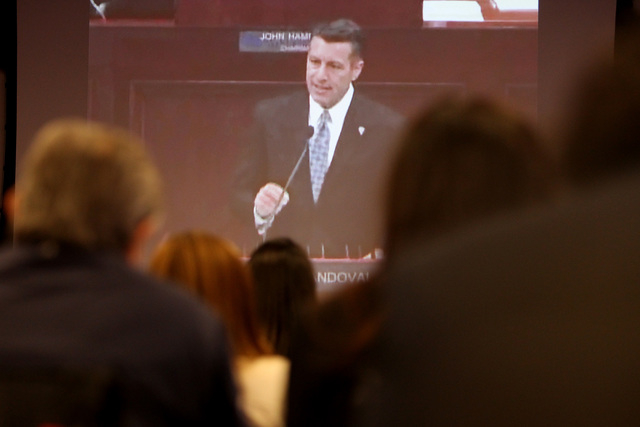 Governor Brian Sandoval is seen on a broadcast at Switch as he gives his state of the state speech Thursday, Jan. 15, 2015 at New York New York. (Sam Morris/Las Vegas Review-Journal)