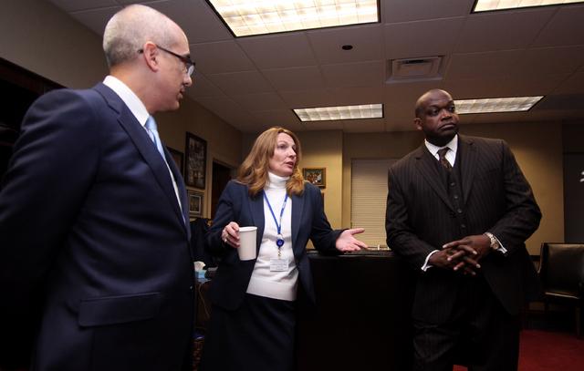 Democratic leaders, from left, Senate Majority Leader Mo Denis, D-Las Vegas, Assembly Speaker Marilyn Kirkpatrick, D-North Las Vegas, and Assembly Majority Leader William Horne, D-Las Vegas, answe ...