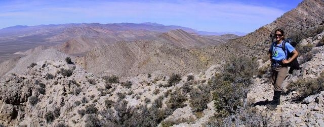 Julia Steenberg, coauthor and MS Geology grad, in the southern Nevada mountains 100 miles north of Las Vegas. The Alamo impact rocks are exposed as far as the eye can see. (Courtesy Andrew Retzler)